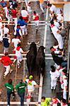 Running of the bulls, San Fermin festival, Pamplona, Navarra (Navarre), Spain, Europe