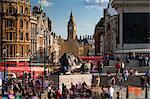 View down Whitehall from Trafalgar Square, London, England, United Kingdom, Europe