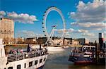 London Eye and River Thames, London, England, United Kingdom, Europe