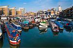 Limehouse Becken und über Canary Wharf, London, England, Vereinigtes Königreich, Europa