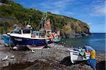 Cornish fisherman on beach at Cadgwith, Lizard Peninsula, Cornwall, England, United Kingdom, Europe