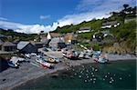 Fishing boats on the beach at Cadgwith, Lizard Peninsula, Cornwall, England, United Kingdom, Europe