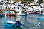Maisons blanches sur l'île de Mykonos, Cyclades, îles grecques, Grèce, Europe