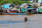 Floating Vietnamese village, Lake Tonle Sap, Biosphere Reserve of UNESCO, Siem Reap, Cambodia, Indochina, Southeast Asia, Asia