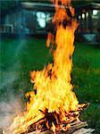 Bonfire burning in backyard
