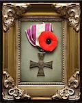 1920 Polnisch Kreuz der Valor mit Mohn im Frame
