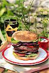 Maison hamburger avec oignons rouges