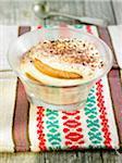 Soya and cherimole cream dessert,galette and cocoa