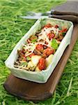 Gnocchis de semoule de blé aux tomates cerises, parmesan, champignons et basilic
