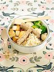 Smoked tofu,broccoli and cauliflower Bento,steamed basmati rice