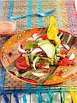 Nopal, Macho Banane Granatapfel-Salat, Tomaten, Rettich