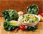 Composition avec salade et laitues