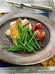 Thon à la plancha, haricots verts et tomates