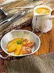 Cailles à la crème de carottes et orange