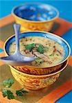 Shiitake soup,coriander,lemon grass and coconut milk