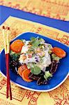 Five flavoured shrimp raviolis