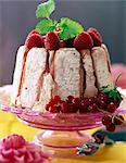 Pink finger biscuit and summer fruit Charlotte