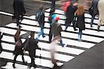 Pedestrians crossing road
