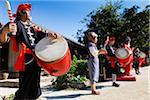 Musicians at Ryukyu Mura, Onna, Okinawa, Ryukyu Islands, Japan