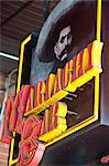 Detail der Mariachi Bar Schild mit legendären mexikanischen Mann im Sombrero mit Schnurrbart.