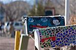 Detail geschmückten US Stil Postfächer in Madrid (New Mexico).