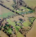Ancienne abbaye de Bayham. Vue aérienne en hiver.