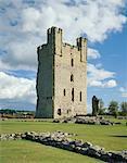 Helmsley Castle. Blick auf halten.