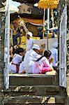Indonesia, Bali, Uluwatu temple, men in prayer