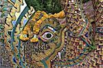 Thaïlande, Chiang Mai, wat phrathat doi suthep, détail d'un escalier