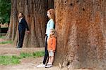 Père appuyé contre le tronc d'arbre en arrière-plan, épouse et fille séparent au premier plan
