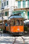 Colourful tram in Placa Constitucio, Soller, Mallorca, Balearic Islands, Spain, Mediterranean, Europe