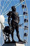 Statue de Sir Francis Drake, Plymouth Hoe, Plymouth, Devon, Angleterre, Royaume-Uni, Europe