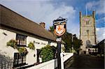 The Drewe Arms and Drewsteignton Church, Dartmoor National Park, Devon, England, United Kingdom, Europe