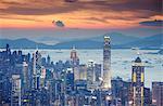 Skyline de Hong Kong Island au coucher du soleil, Hong Kong, Chine, Asie