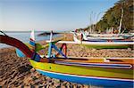 Boats on Sanur beach, Bali, Indonesia, Southeast Asia, Asia