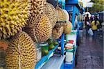 Durian fruit hanging on food stall, Yogyakarta, Java, Indonesia, Southeast Asia, Asia