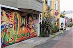 Peintures murales, Balmy Alley, Mission District, Mission, San Francisco, Californie, États-Unis d'Amérique, Amérique du Nord