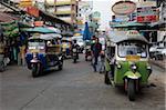 Tuk tuks, Khao San Road, budget backpacker haven, Banglamphu, Bangkok, Thailand,Southeast Asia, Asia