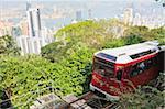 The Peak Tram climbing Victoria Peak, Hong Kong, China, Asia