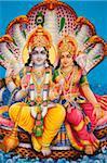 Picture of Hindu gods Visnu and Lakshmi, India, Asia