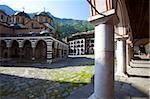 Courtyard and Church of the Nativity, Rila Monastery, UNESCO World Heritage Site, nestled in the Rila Mountains, Bulgaria, Europe