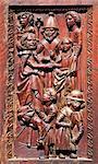 Portes en bois sculpté datant de 1530, cathédrale de Saint Léonce de Fréjus, Var, Provence, Côte d'Azur, France, Europe