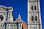 Campanile di Giotto, Belltower and the Dome of Brunelleschi of the Duomo, Santa Maria del Fiore, Florence, UNESCO World Heritage Site, Tuscany, Italy, Europe