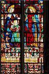 Stained glass window, Basilica Saint Nazaire, Carcassonne, UNESCO World Heritage Site, Aude, France, Europe