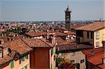 Vue de la basse-ville de haute-ville, Bergamo, Lombardie, Italie, Europe