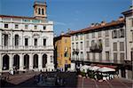 Piazza Vecchia au coucher du soleil, Bergame, Lombardie, Italie, Europe