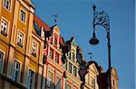 Façades colorées, Markt, Old Town, Wroclaw, Silésie, Pologne, Europe