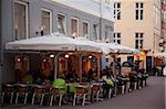 City cafe at dusk, Copenhagen, Denmark, Scandinavia, Europe