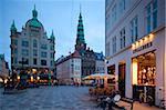 Nikolaj Church and restaurants at dusk, Copenhagen, Denmark, Scandinavia, Europe