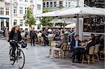 Cafe und Radsportler, Kopenhagen, Dänemark, Skandinavien, Europa